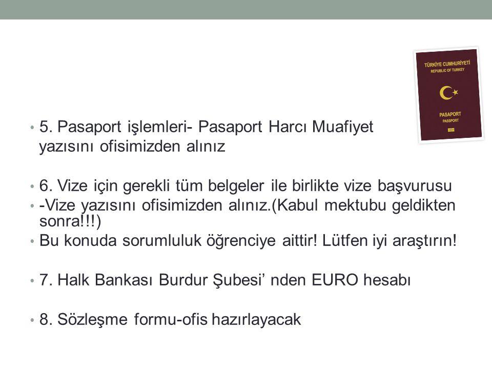 5. Pasaport işlemleri- Pasaport Harcı Muafiyet yazısını ofisimizden alınız 6. Vize için gerekli tüm belgeler ile birlikte vize başvurusu -Vize yazısın