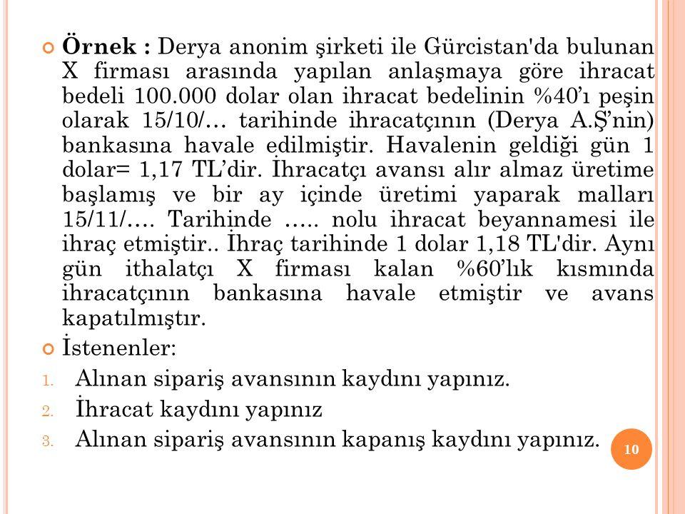 Örnek : Derya anonim şirketi ile Gürcistan'da bulunan X firması arasında yapılan anlaşmaya göre ihracat bedeli 100.000 dolar olan ihracat bedelinin %4
