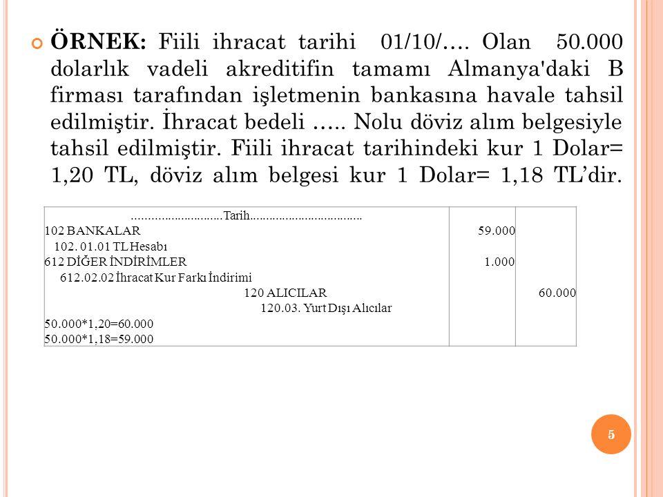 ÖRNEK: Fiili ihracat tarihi 01/10/…. Olan 50.000 dolarlık vadeli akreditifin tamamı Almanya'daki B firması tarafından işletmenin bankasına havale tahs