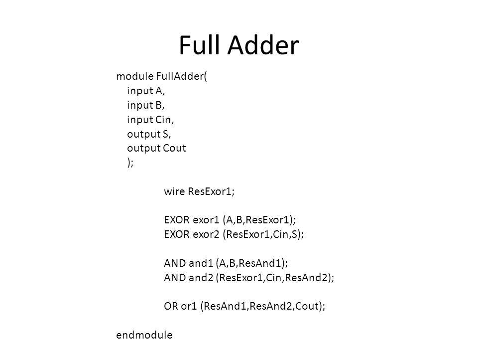 Full Adder module FullAdder( input A, input B, input Cin, output S, output Cout ); wire ResExor1; EXOR exor1 (A,B,ResExor1); EXOR exor2 (ResExor1,Cin,S); AND and1 (A,B,ResAnd1); AND and2 (ResExor1,Cin,ResAnd2); OR or1 (ResAnd1,ResAnd2,Cout); endmodule