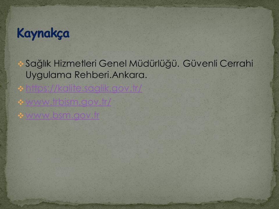  Sağlık Hizmetleri Genel Müdürlüğü. Güvenli Cerrahi Uygulama Rehberi.Ankara.  https://kalite.saglik.gov.tr/ https://kalite.saglik.gov.tr/  www.trbi