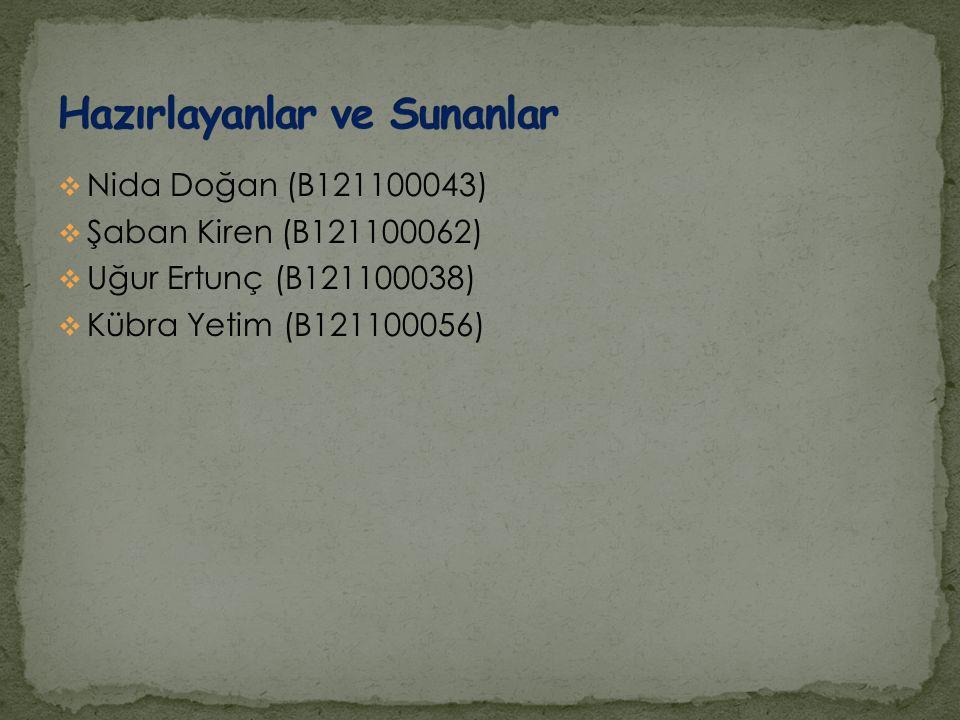  Nida Doğan (B121100043)  Şaban Kiren (B121100062)  Uğur Ertunç (B121100038)  Kübra Yetim (B121100056)