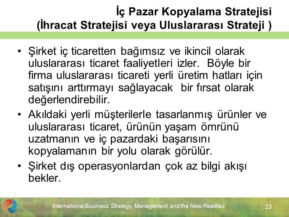 International Business: Strategy, Management, and the New Realities 23 İç Pazar Kopyalama Stratejisi (İhracat Stratejisi veya Uluslararası Strateji ) Şirket iç ticaretten bağımsız ve ikincil olarak uluslararası ticaret faaliyetleri izler.