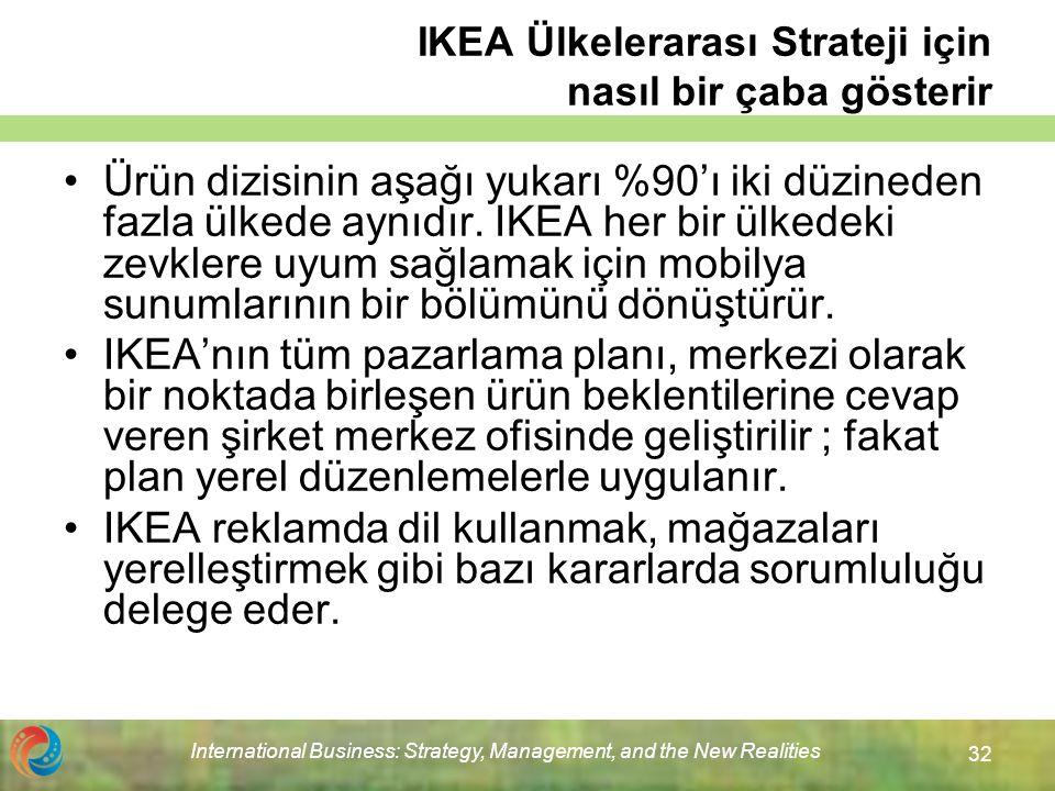 International Business: Strategy, Management, and the New Realities 32 IKEA Ülkelerarası Strateji için nasıl bir çaba gösterir Ürün dizisinin aşağı yukarı %90'ı iki düzineden fazla ülkede aynıdır.