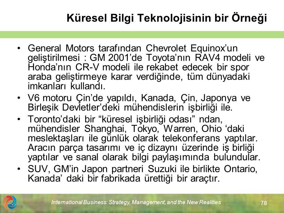 International Business: Strategy, Management, and the New Realities 78 Küresel Bilgi Teknolojisinin bir Örneği General Motors tarafından Chevrolet Equinox'un geliştirilmesi : GM 2001'de Toyota'nın RAV4 modeli ve Honda'nın CR-V modeli ile rekabet edecek bir spor araba geliştirmeye karar verdiğinde, tüm dünyadaki imkanları kullandı.