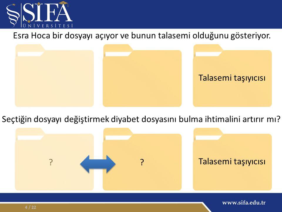 4 Talasemi taşıyıcısı ?.Esra Hoca bir dosyayı açıyor ve bunun talasemi olduğunu gösteriyor.