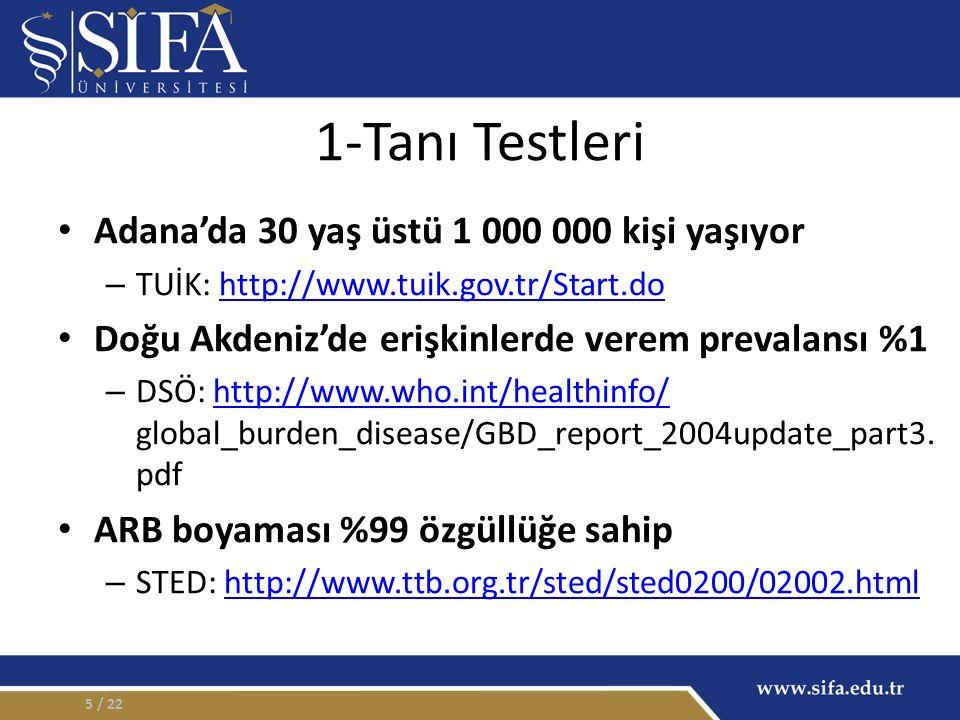 1-Tanı Testleri Adana'da 30 yaş üstü 1 000 000 kişi yaşıyor – TUİK: http://www.tuik.gov.tr/Start.dohttp://www.tuik.gov.tr/Start.do Doğu Akdeniz'de erişkinlerde verem prevalansı %1 – DSÖ: http://www.who.int/healthinfo/ global_burden_disease/GBD_report_2004update_part3.