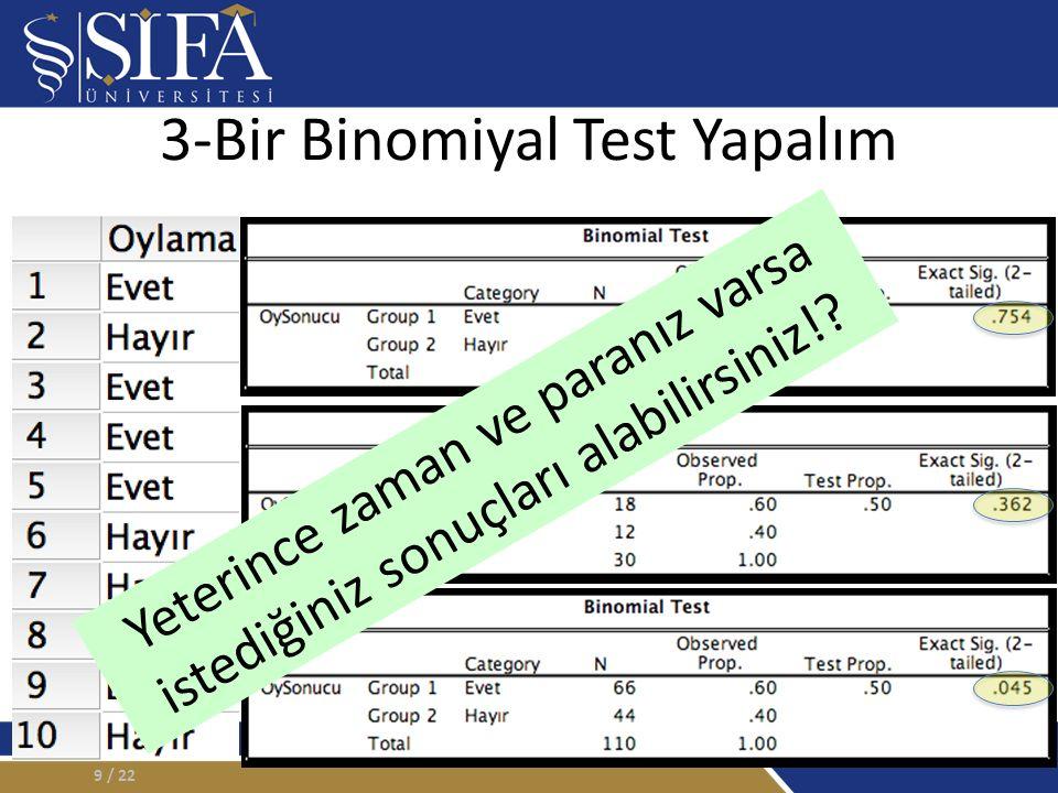 3-Bir Binomiyal Test Yapalım / 229 Yeterince zaman ve paranız varsa istediğiniz sonuçları alabilirsiniz!?