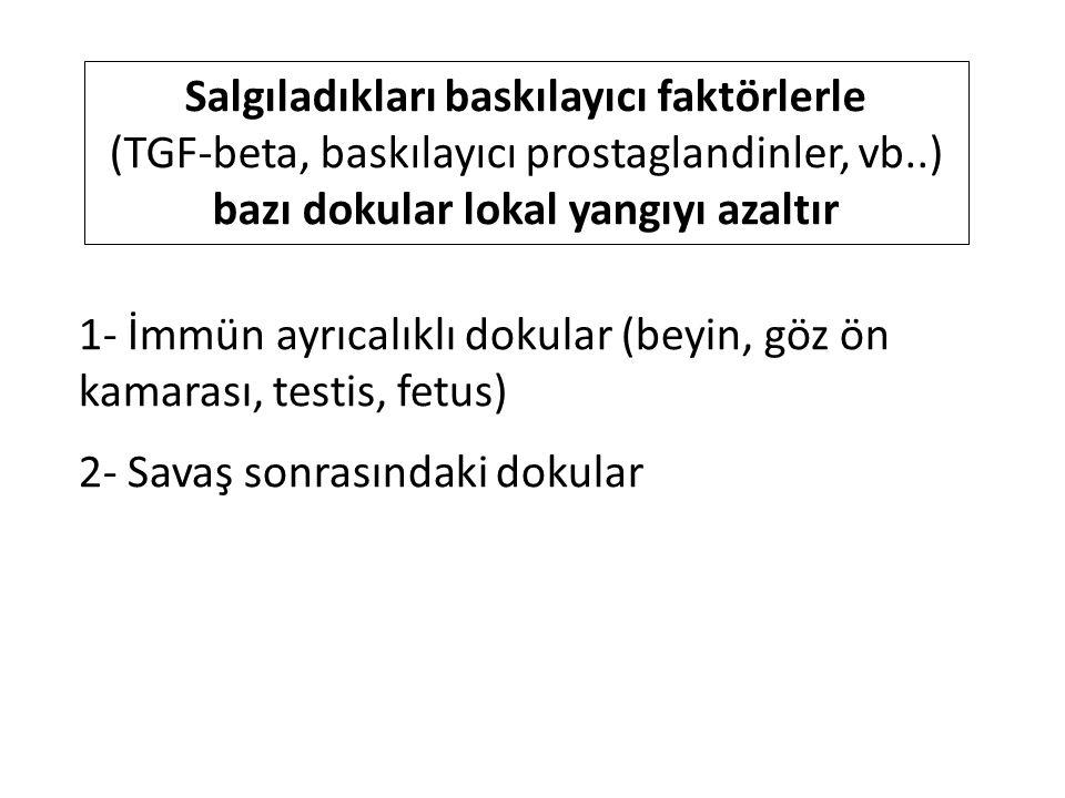 1- İmmün ayrıcalıklı dokular (beyin, göz ön kamarası, testis, fetus) 2- Savaş sonrasındaki dokular Salgıladıkları baskılayıcı faktörlerle (TGF-beta, baskılayıcı prostaglandinler, vb..) bazı dokular lokal yangıyı azaltır