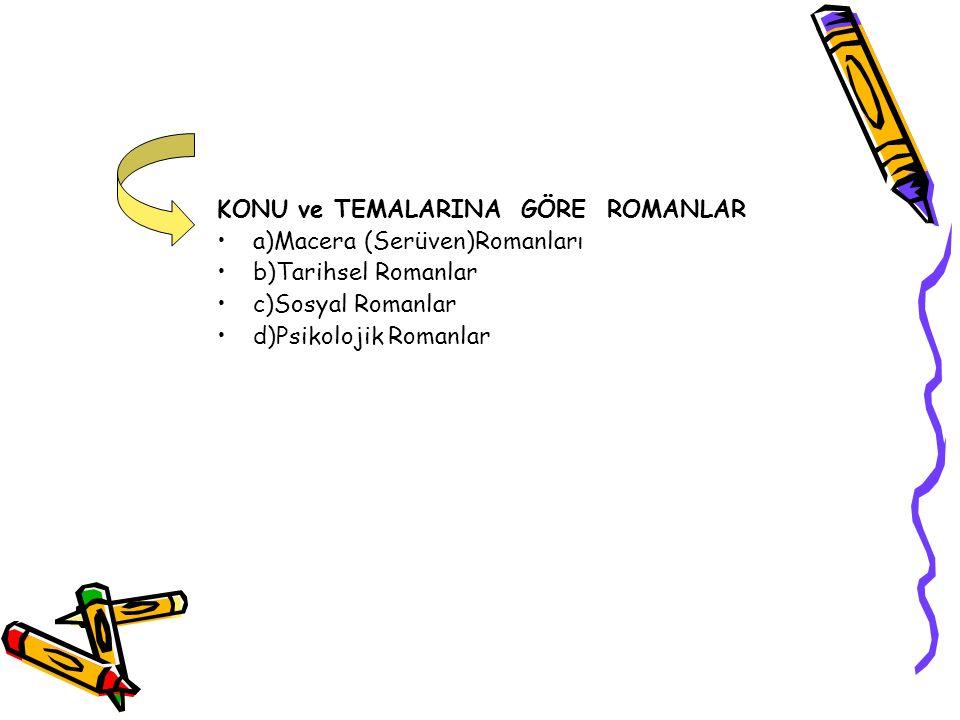 KONU ve TEMALARINA GÖRE ROMANLAR a)Macera (Serüven)Romanları b)Tarihsel Romanlar c)Sosyal Romanlar d)Psikolojik Romanlar