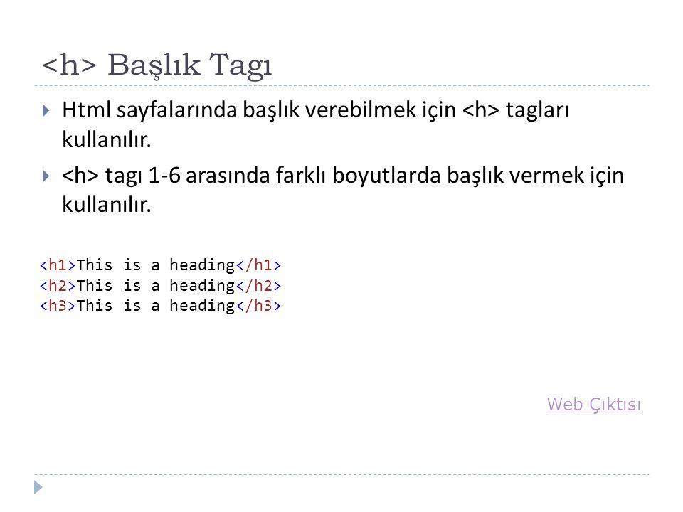 Başlık Tagı  Html sayfalarında başlık verebilmek için tagları kullanılır.