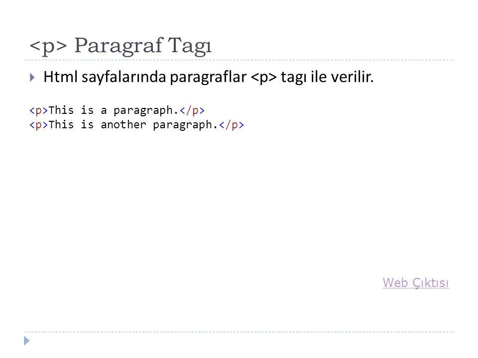 Paragraf Tagı  Html sayfalarında paragraflar tagı ile verilir.