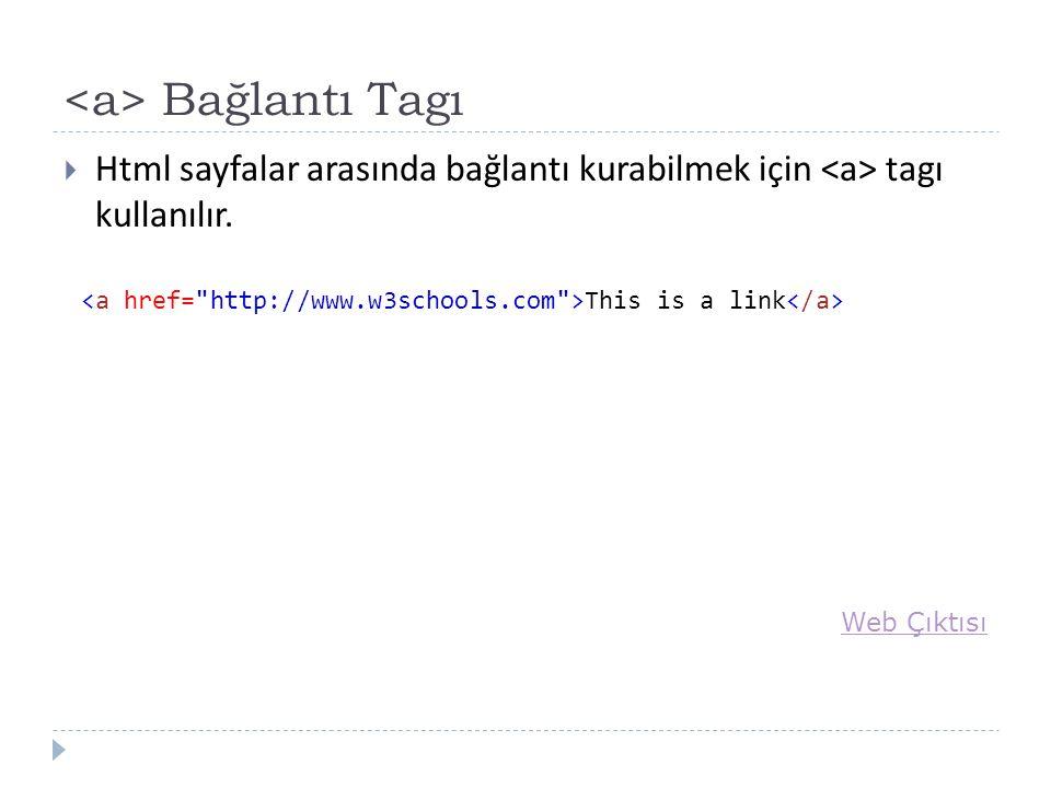 Bağlantı Tagı  Html sayfalar arasında bağlantı kurabilmek için tagı kullanılır.