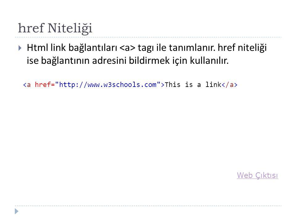 href Niteliği  Html link bağlantıları tagı ile tanımlanır.