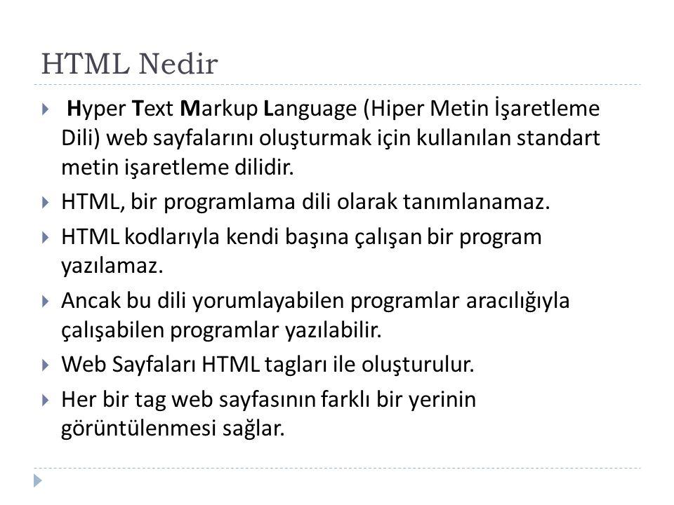 HTML Nedir  Hyper Text Markup Language (Hiper Metin İşaretleme Dili) web sayfalarını oluşturmak için kullanılan standart metin işaretleme dilidir.