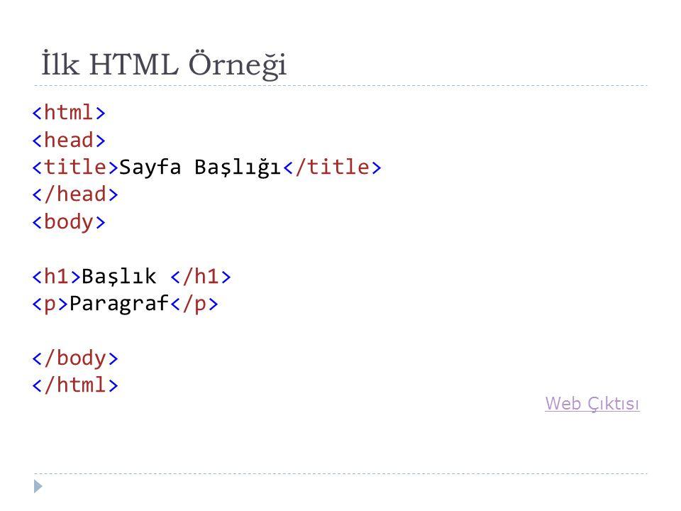 İlk HTML Örneği Sayfa Başlığı Başlık Paragraf Web Çıktısı