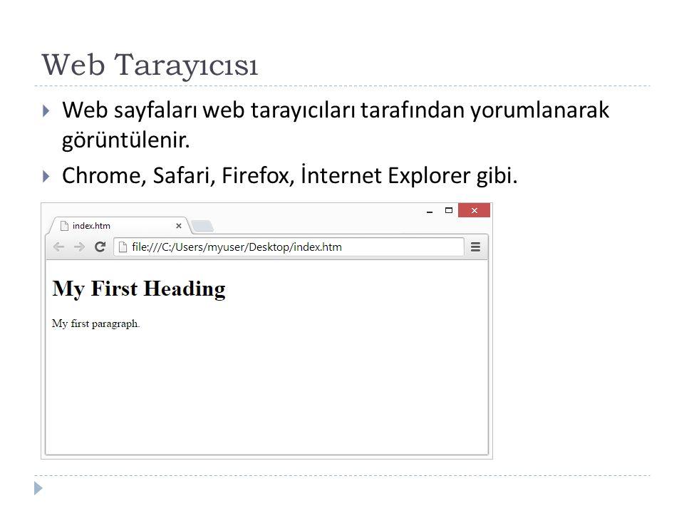 Web Tarayıcısı  Web sayfaları web tarayıcıları tarafından yorumlanarak görüntülenir.