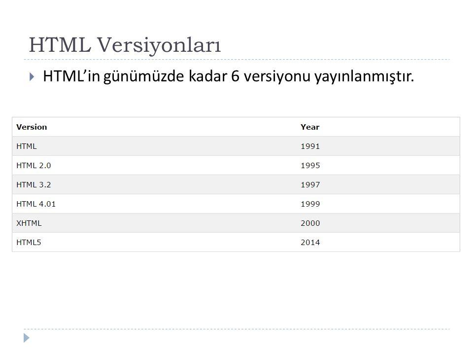 HTML Versiyonları  HTML'in günümüzde kadar 6 versiyonu yayınlanmıştır.