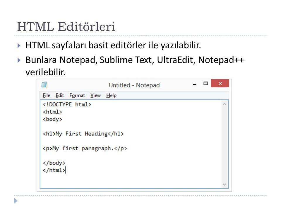 HTML Editörleri  HTML sayfaları basit editörler ile yazılabilir.