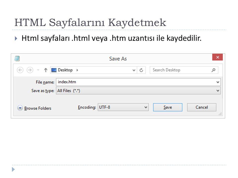 HTML Sayfalarını Kaydetmek  Html sayfaları.html veya.htm uzantısı ile kaydedilir.