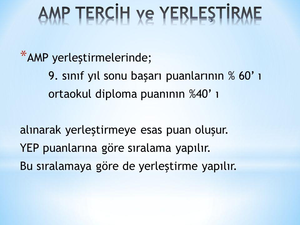 * AMP yerleştirmelerinde; 9.