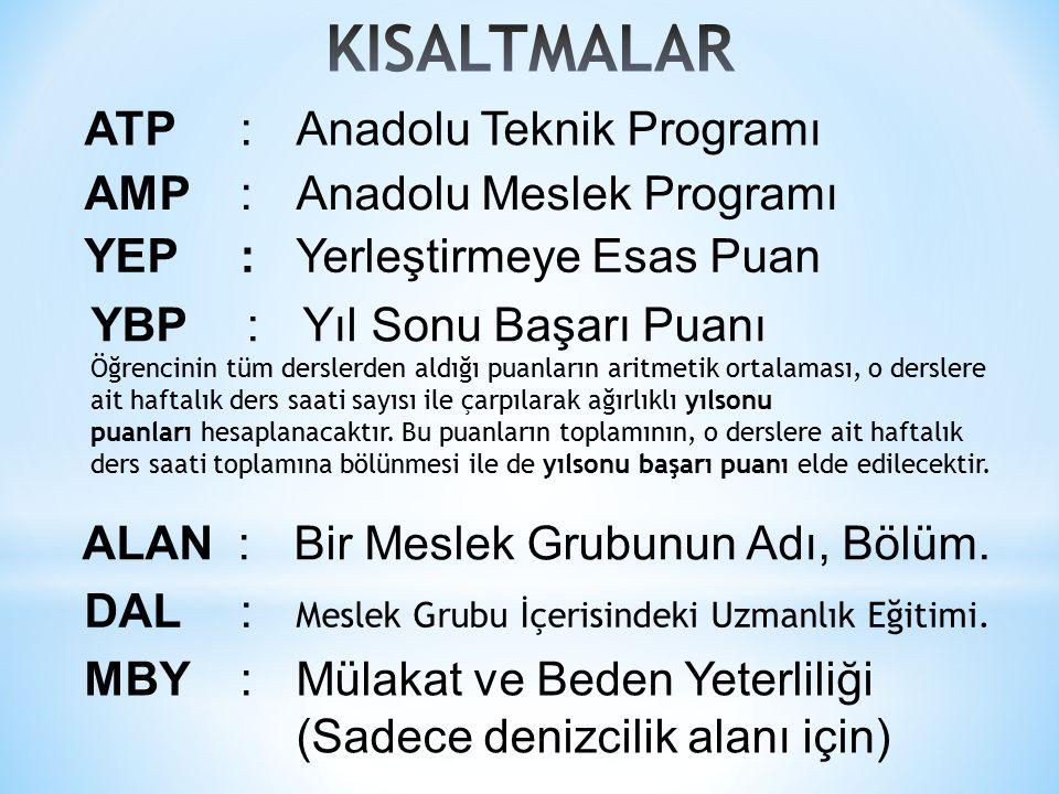 ATP:Anadolu Teknik Programı AMP:Anadolu Meslek Programı YEP:Yerleştirmeye Esas Puan YBP:Yıl Sonu Başarı Puanı Öğrencinin tüm derslerden aldığı puanların aritmetik ortalaması, o derslere ait haftalık ders saati sayısı ile çarpılarak ağırlıklı yılsonu puanları hesaplanacaktır.