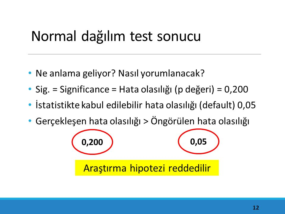 Normal dağılım test sonucu Ne anlama geliyor? Nasıl yorumlanacak? Sig. = Significance = Hata olasılığı (p değeri) = 0,200 İstatistikte kabul edilebili