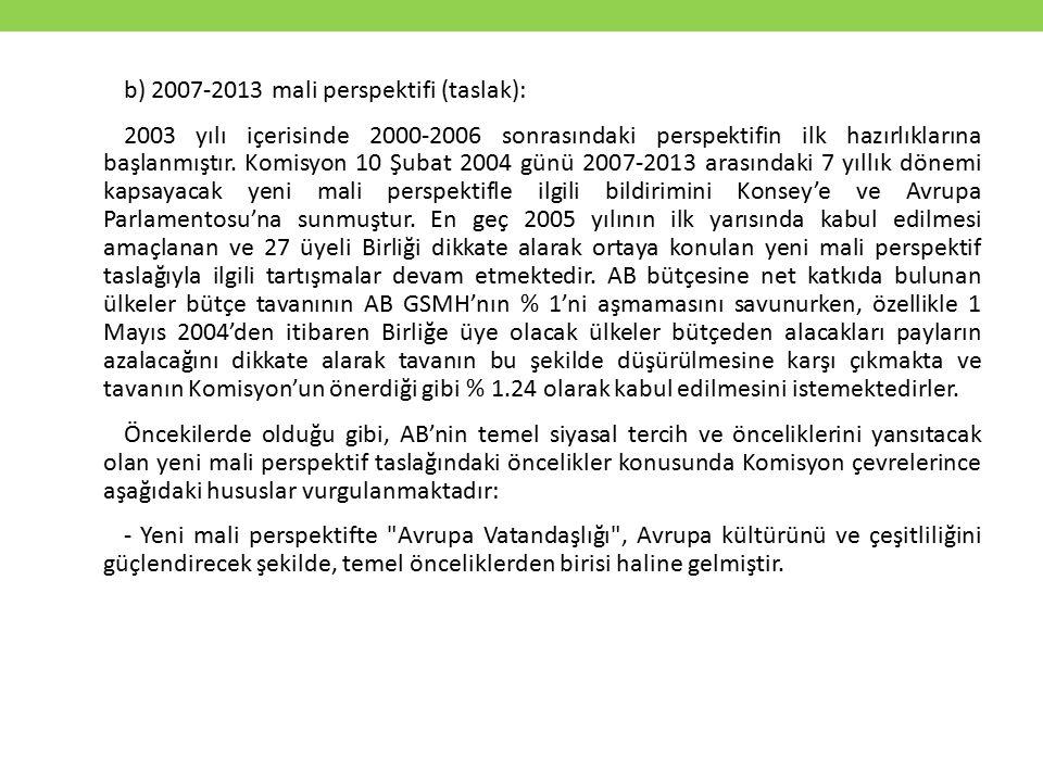 b) 2007-2013 mali perspektifi (taslak): 2003 yılı içerisinde 2000-2006 sonrasındaki perspektifin ilk hazırlıklarına başlanmıştır. Komisyon 10 Şubat 20