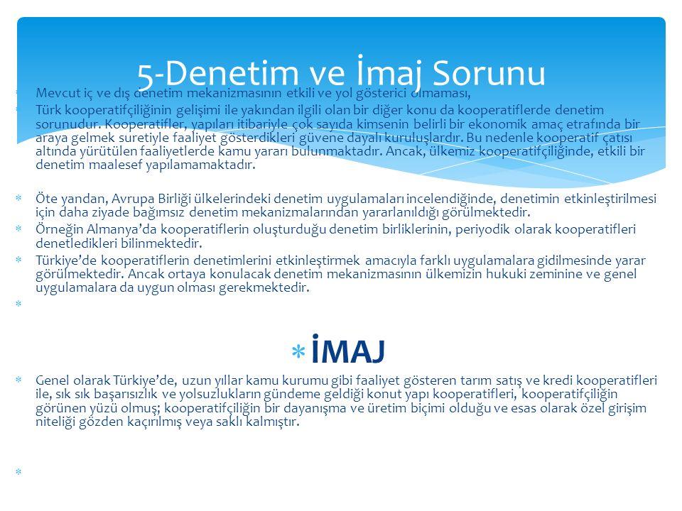 Mevcut iç ve dış denetim mekanizmasının etkili ve yol gösterici olmaması,  Türk kooperatifçiliğinin gelişimi ile yakından ilgili olan bir diğer kon