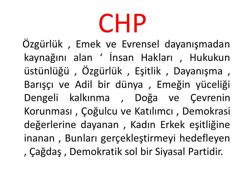 CHP Özgürlük, Emek ve Evrensel dayanışmadan kaynağını alan ' İnsan Hakları, Hukukun üstünlüğü, Özgürlük, Eşitlik, Dayanışma, Barışçı ve Adil bir dünya