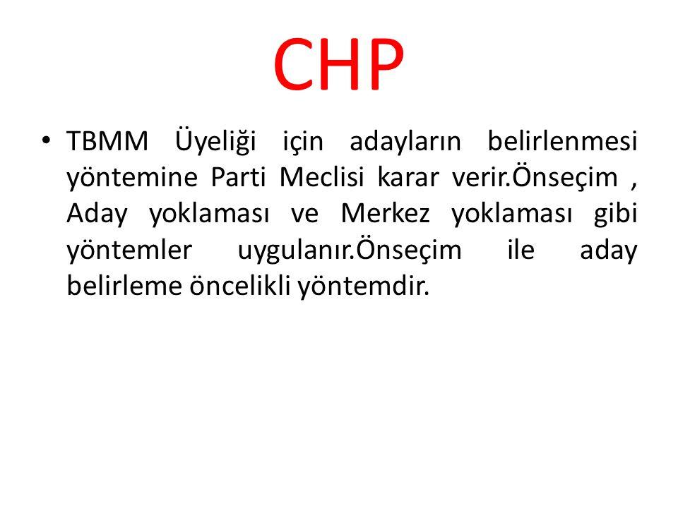 CHP TBMM Üyeliği için adayların belirlenmesi yöntemine Parti Meclisi karar verir.Önseçim, Aday yoklaması ve Merkez yoklaması gibi yöntemler uygulanır.