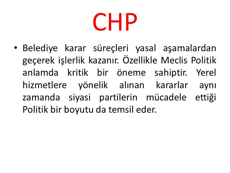 CHP Belediye karar süreçleri yasal aşamalardan geçerek işlerlik kazanır. Özellikle Meclis Politik anlamda kritik bir öneme sahiptir. Yerel hizmetlere