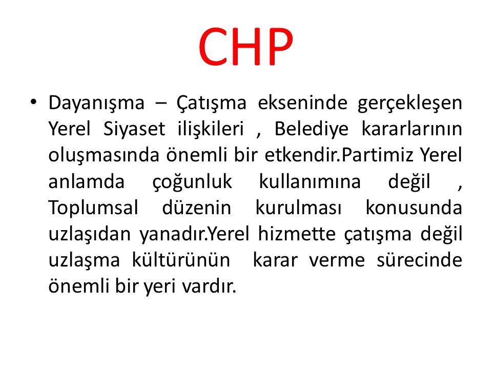 CHP Dayanışma – Çatışma ekseninde gerçekleşen Yerel Siyaset ilişkileri, Belediye kararlarının oluşmasında önemli bir etkendir.Partimiz Yerel anlamda ç