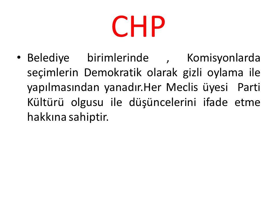 CHP Belediye birimlerinde, Komisyonlarda seçimlerin Demokratik olarak gizli oylama ile yapılmasından yanadır.Her Meclis üyesi Parti Kültürü olgusu ile