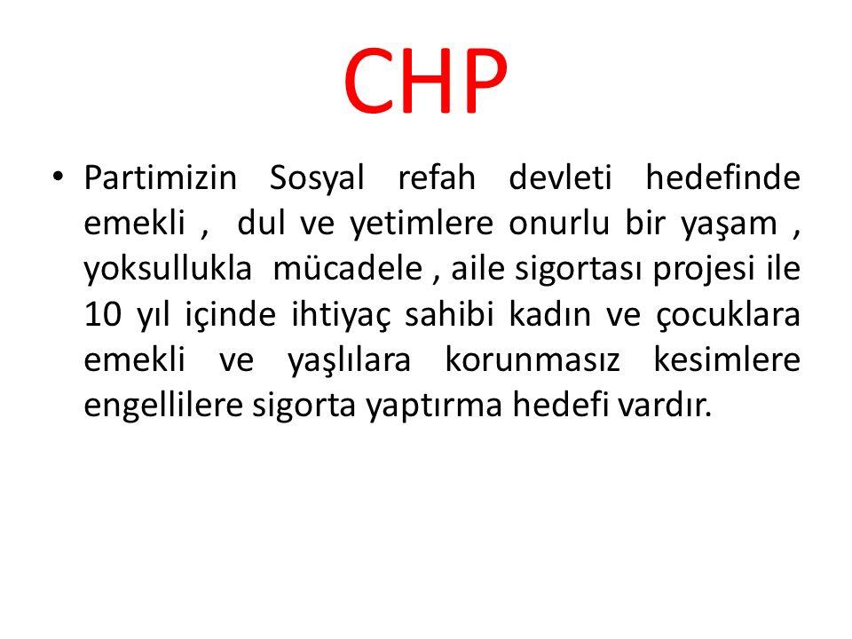 CHP Partimizin Sosyal refah devleti hedefinde emekli, dul ve yetimlere onurlu bir yaşam, yoksullukla mücadele, aile sigortası projesi ile 10 yıl içind