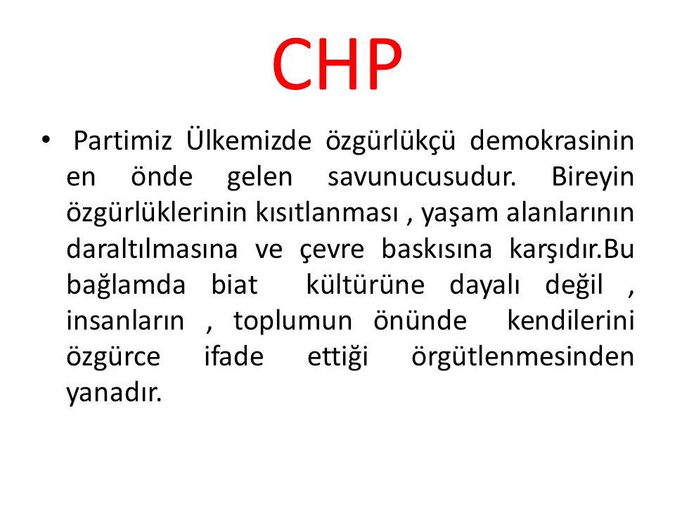 CHP Partimiz Ülkemizde özgürlükçü demokrasinin en önde gelen savunucusudur. Bireyin özgürlüklerinin kısıtlanması, yaşam alanlarının daraltılmasına ve