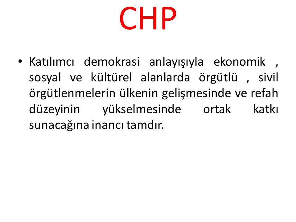 CHP Katılımcı demokrasi anlayışıyla ekonomik, sosyal ve kültürel alanlarda örgütlü, sivil örgütlenmelerin ülkenin gelişmesinde ve refah düzeyinin yüks
