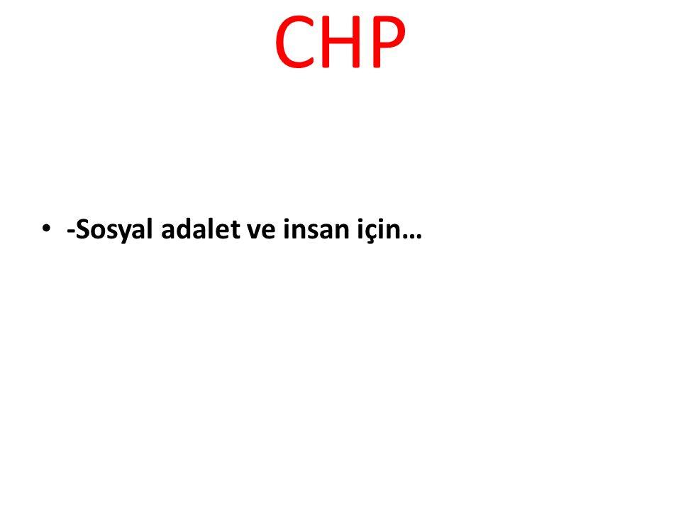 CHP -Sosyal adalet ve insan için…