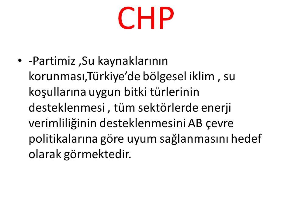 CHP -Partimiz,Su kaynaklarının korunması,Türkiye'de bölgesel iklim, su koşullarına uygun bitki türlerinin desteklenmesi, tüm sektörlerde enerji veriml
