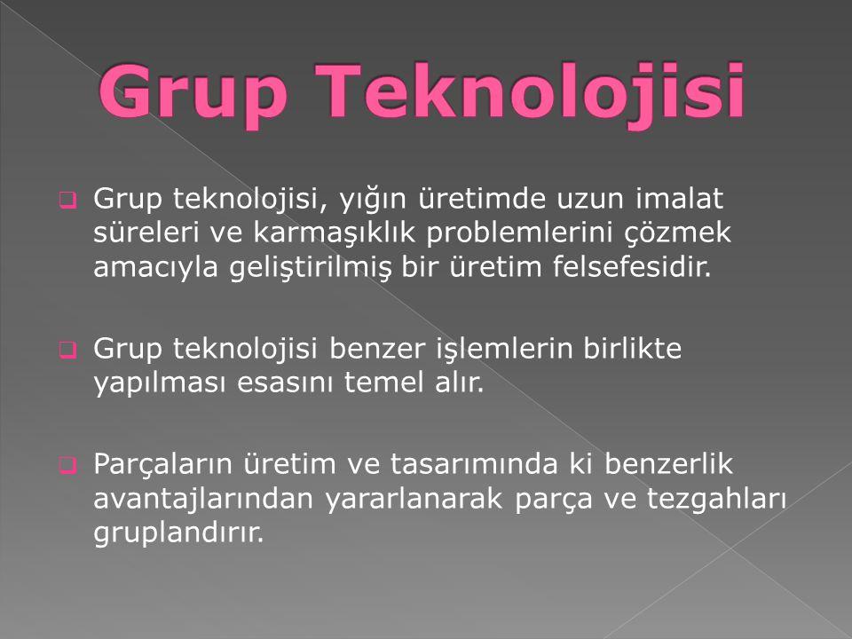  Grup Teknolojisi, orta çeşitlilik ve hacimdeki parçaların diğer üretim sistemlerine göre daha ekonomik olarak üretilebildiği bir üretim sistemi ve işlemler ya da parçaların özellikleri arasındaki benzerlikleri kullanan bir felsefedir.