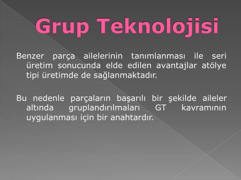 İmalat hücresi ise belirlenen parça ailesini üretmek için gerekli tezgah ve işgücünün oluşturduğu gruptur.