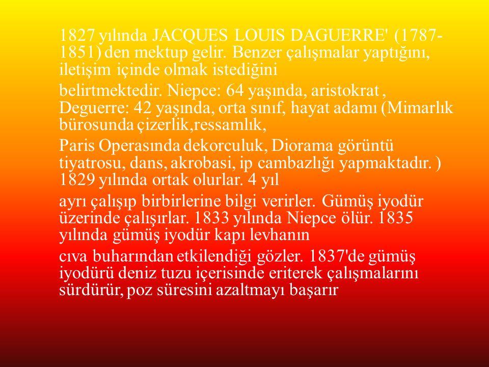 1827 yılında JACQUES LOUIS DAGUERRE' (1787- 1851) den mektup gelir. Benzer çalışmalar yaptığını, iletişim içinde olmak istediğini belirtmektedir. Niep