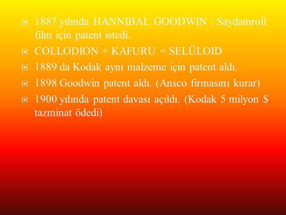  1887 yılında HANNIBAL GOODWIN : Saydamroll film için patent istedi.  COLLODION + KAFURU = SELÜLOID  1889 da Kodak aynı malzeme için patent aldı. 