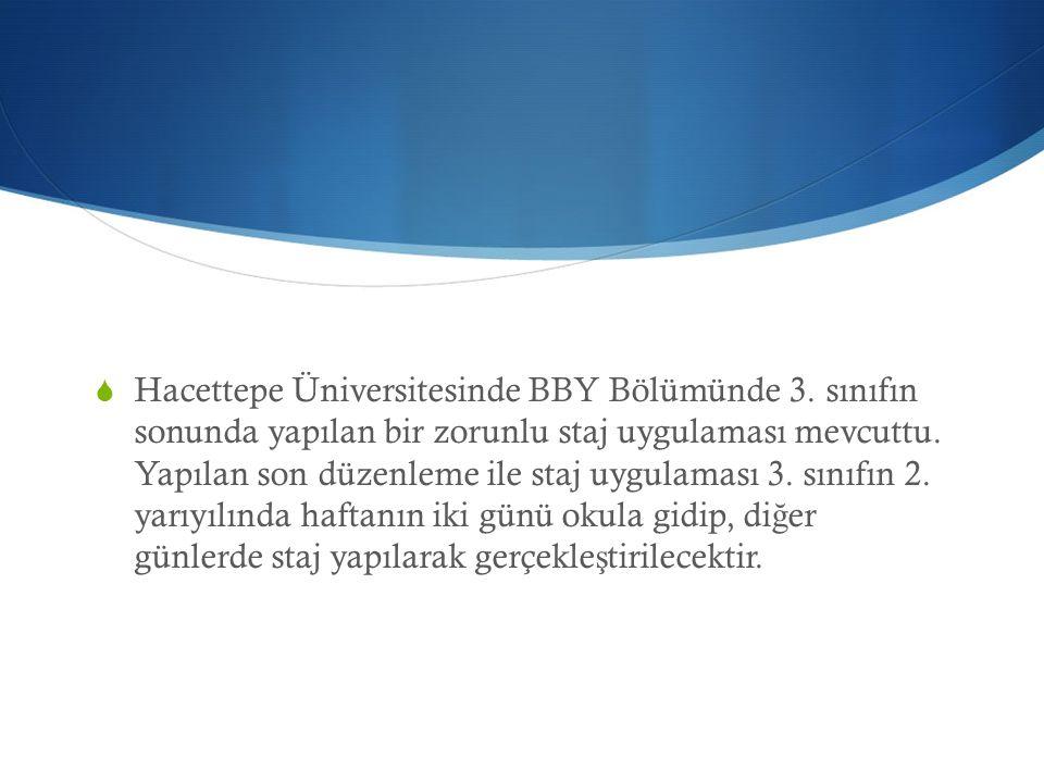  Hacettepe Üniversitesinde BBY Bölümünde 3. sınıfın sonunda yapılan bir zorunlu staj uygulaması mevcuttu. Yapılan son düzenleme ile staj uygulaması 3