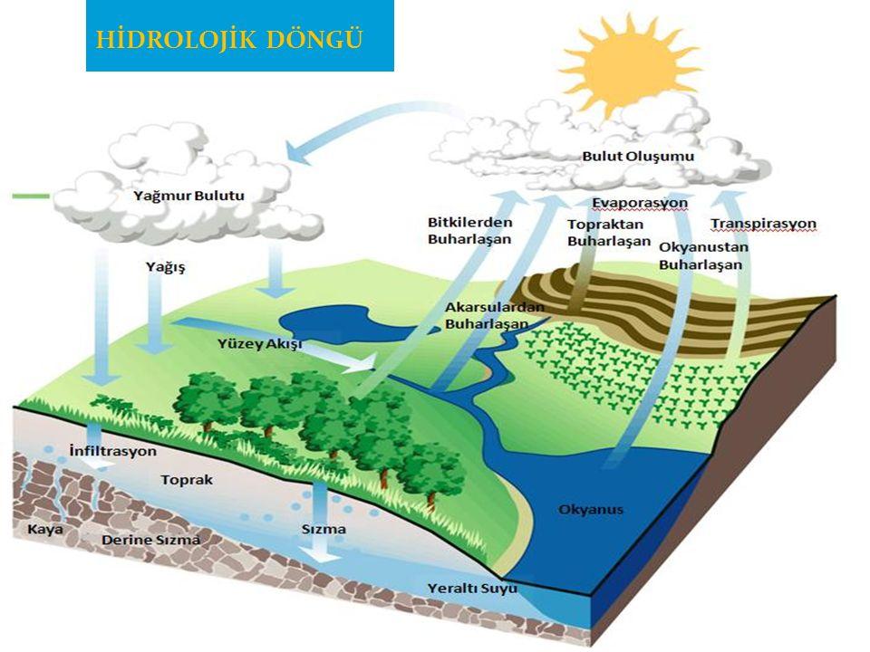 HİDROLOJİK DÖNGÜNÜN UNSURLARI Buharlaşma Yağış Bitki yüzeyinde tutulma Yüzey akış Yeraltı suyu Evapotranspirasyon (topraktan buharlaşma + bitkiden terleme) Sızma Perkolasyon (derine sızma) İnfiltrasyon (toprağın su alma hızı)