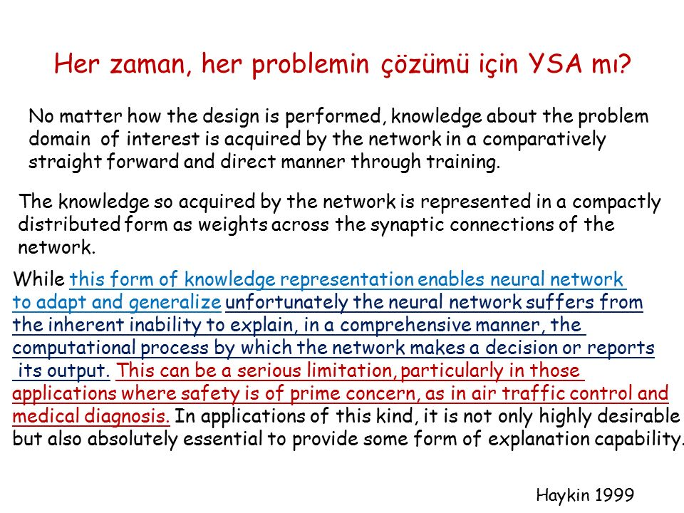 Her zaman, her problemin çözümü için YSA mı? No matter how the design is performed, knowledge about the problem domain of interest is acquired by the