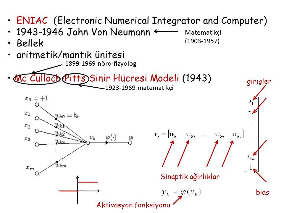 ENIAC (Electronic Numerical Integrator and Computer) 1943-1946 John Von Neumann Bellek aritmetik/mantık ünitesi Mc Culloch-Pitts Sinir Hücresi Modeli (1943) 1899-1969 nöro-fizyolog 1923-1969 matematikçi Sinaptik ağırlıklar girişler bias Matematikçi (1903-1957) Aktivasyon fonksiyonu