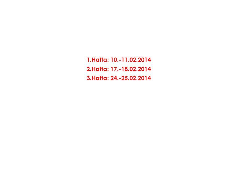 1.Hafta: 10.-11.02.2014 2.Hafta: 17.-18.02.2014 3.Hafta: 24.-25.02.2014