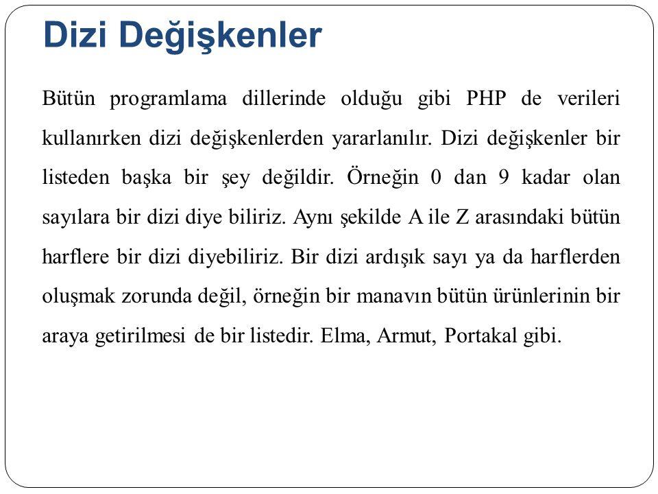 Dizi Değişkenler Bütün programlama dillerinde olduğu gibi PHP de verileri kullanırken dizi değişkenlerden yararlanılır.
