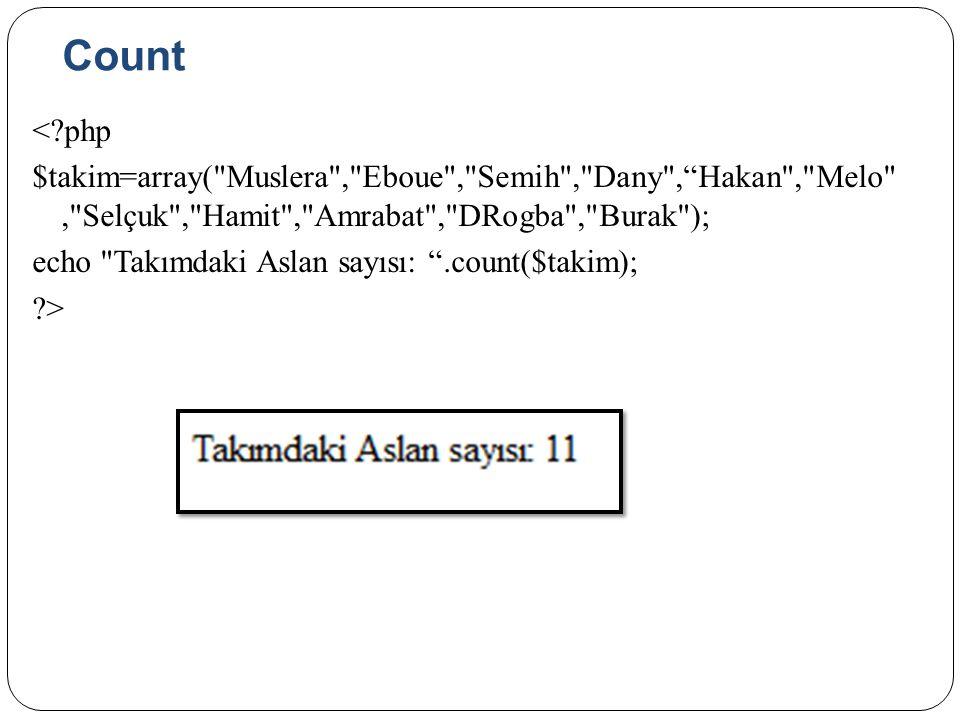 Count < php $takim=array( Muslera , Eboue , Semih , Dany , Hakan , Melo , Selçuk , Hamit , Amrabat , DRogba , Burak ); echo Takımdaki Aslan sayısı: .count($takim); >